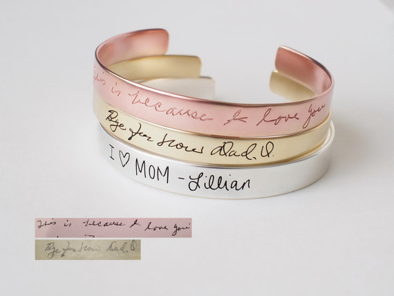 Handwriting Cuff Memorial Jewelry