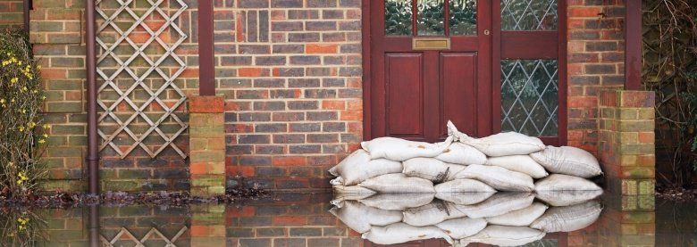 Sandbags in front of door