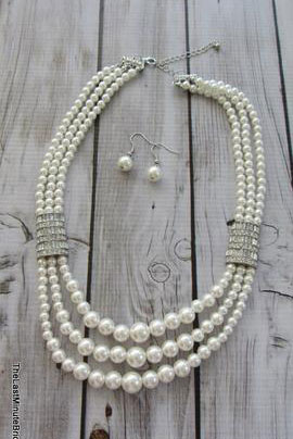 Multi Row Pearl and Rhinestone Necklace