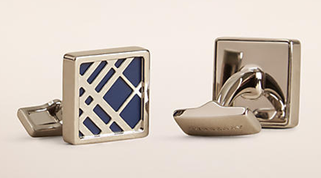 Check Detail Square Cufflinks by Burberry